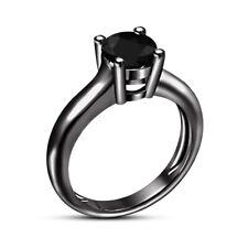 Bridal Ring 14K Black Gold Over 1.25 Ct Round Cut Diamond Engagement Wedding