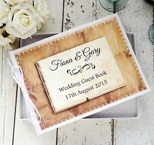 PERSONALISED WHITE WEDDING GUEST BOOK IN BOX ~  RUSTIC VINTAGE LETTER DECOR