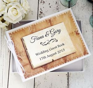 PERSONALISED WHITE WEDDING GUEST BOOK IN BOX ~  RUSTIC VINTAGE DECOR