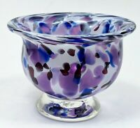 2004 SIGNED Art Glass Murano ? Spatter Blue Purple White Candy Bowl hand blown
