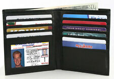 BLACK LEATHER Cowhide Leather Mens Hipster Big Card Holder Wallet Bifold Wallet