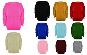 WOMENS LADIES CHUNKY JUMPER BASIC KNITTED CASUAL COSY BAGGY WINTER TOP SIZE S-XL