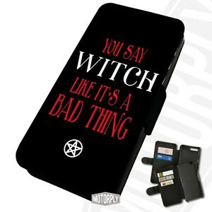Printed Faux Leather Flip Phone Case For Huawei - Witch-Bad-Thing