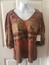 NEW NWT Jane Ashley Casual Lifestyle Top ButterFlies Floral Print Blouse Large L