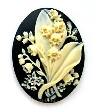 2 IVORY color LILY of the VALLEY Flower on BLACK 40mm x 30mm CAMEOS for Crafts