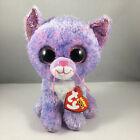 "NEW 2021 TY Beanie Boos CASSIDY the 6"" Purple Cat Stuffed Animal Toy Plush MWMTs"