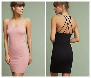 NWT Anthropologie Strappy Seamless Slip by Floreat, Black - M, Rose - S, M, L