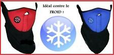 TOUR de COU visage MASQUE CAGOULE Protection BLEU ou ROUGE ski sport hiver Moto