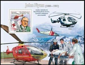 Guinea Bi. 2009 MNH MS, John Flynn, Red Cross Air Ambulance Helicopter, Medicine