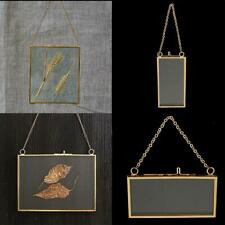1* Double Sided Hanging Glass Display Frame For Photo Specimen DIY Picture C7N2