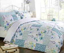 SINGLE BED DUVET COVER SET DREAM PATCHWORK FLORAL BUTTERFLY POLKA DOTS TEAL LOVE