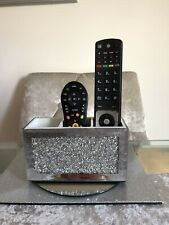 CRUSHED DIAMONDS MIRRORED BOX MAKE UP BRUSH OR REMOTE CONTROL HOLDER NEW