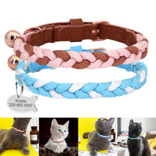 Personalized Leather Cat Collars Nylon Rope Engraved ID Tag for Small Puppy Dogs