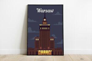 Warsaw retro travel poster, Warsaw city print, Poland travel poster, gift