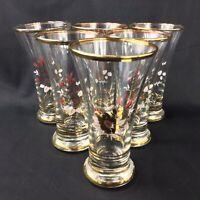Vintage Drinking Glass Set Sherry Schooner Gilt Bands Floral Kitsch Shot Glasses