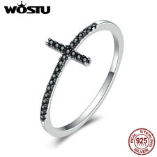 Wostu Faith S925 Sterling Silver Cross Ring With Platinum Black Gold & Crystal