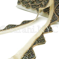 Black Gold Wave Beaded Fabric Trim trimming,Embellishment,co stume,pageant,Art