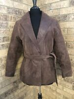 Comint Apparel Group Brown Genuine Leather Belted Coat Women's Size M