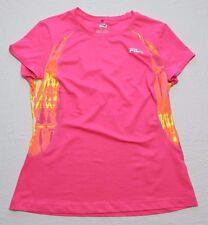 WOMENS BLOUSE SHIRT pink short sleeve athletic top = FILA SPORT = LARGE = cs93