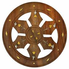 Wall Hanging Wooden Brown Decorative Round Key Holder For Living Room, Office
