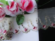 Exquisite - flower embroidered tulle lace trim   - price for 1 yard
