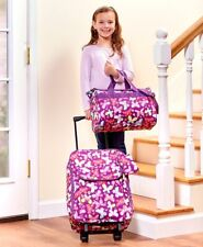 Kids Going to Grandmas 3-Pc Luggage Set Rolling Suitcase Tote & Pouch BUTTERFLY