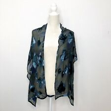 Italian Blue Green Floral Silk Scarf Handroll Hems