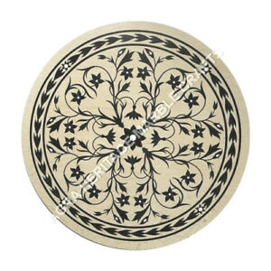 """20"""" White Marble Coffee Cafe Bedroom Table Top Mosaic Inlay Hallway Decor H5022"""