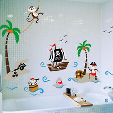 Pirate Ship &Monkey Tree Wall Art Decal PVC Sticker Kids Bedroom Decor Captain