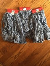 Rubbermaid Commercial cotton MOP Head # 24 Looped End lot of 3 NEW Blue