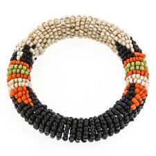 ETHNIC STYLE BLACK BEIGE ORANGE HANDMADE SEED BEADS BANGLE bracelet