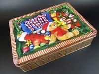 "Tin Bread Box Storage Box "" Christmas "", 24 cm Jewelry Box, New"