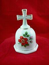 Cross Handle Porcelain Bell Gold Trim Red Flower Pink Rose