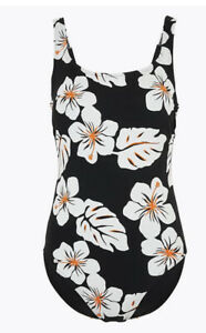 M&S Swimming Costume Sun Smart UPF 50+ Floral Scoop Neck Swimsuit 14 16