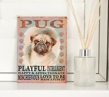 New Pug Dog Breed Sign Shabby Chic Vintage Retro Gift Cute Metal Hanging Plaque
