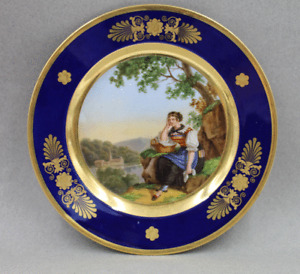 Antique Nast a Paris French Porcelain Hand Painted Cabinet Plate Named Scene