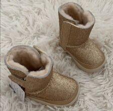 NEW INFANT BABY GIRLS GOLD UGG KEELAN GLITTER BOOTS Sz 2/3