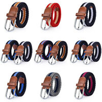 Men Women Casual Sport Stretch Belt Knitted Nylon Strap Waistband Wed Belt