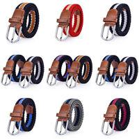Men Women Casual Sport Stretch Belt Knitted Nylon Strap Waistband Wed Belt