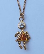 """Man-Made Citrine Doll Pendant w/ Round Accent - 14k Yellow Gold - 23.5"""" Chain"""