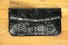 Real Snakeskin Black Patent Clutch with Wallet/ Checkbook Holder Italy Hong Kong