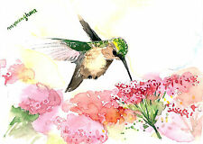 ACEO Limited Edition-Garden glories, Hummingbird, Gift for bird lovers