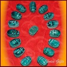 22mm Egyptian Carved Stone Blue Scarab Beetle Bead ~ Lucky Charm Pendent! CX3
