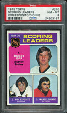 PSA 8 .. 1975 Topps #210 Scoring Leaders BOBBY ORR  Phil Esposito  Marcel Dionne