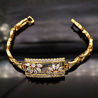 Women Shinning AAA+ CZ Cubic Zirconia Stones 18K Gold Plated Bracelet Jewelry