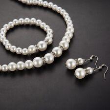 Faux Pearl Jewelry Set Rhinestone Necklace Earrings Bracelet Set Christmas UK