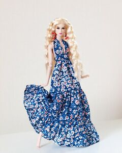 Ethnic blue camomile printed sundress for Nu face by Olgaomi