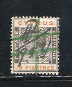 CYPRUS KGV 1924 SG115 18pi USED as REVENUE FISCAL DUTY STAMP VERY FINE CONDITION