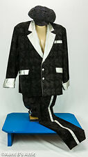 Pimp Daddy 3 Piece Black & Silver Velveteen & Vinyl Coat Pants & Hat XL