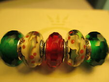 5 Piece Authentic Pandora 925 silver CHARMS BEADS Christmas Holly Tree Green Red
